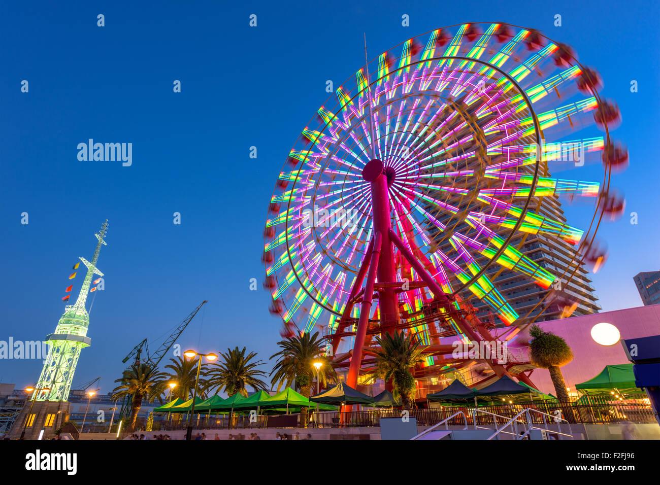 Kobe, Japon au port Grande Roue. Banque D'Images
