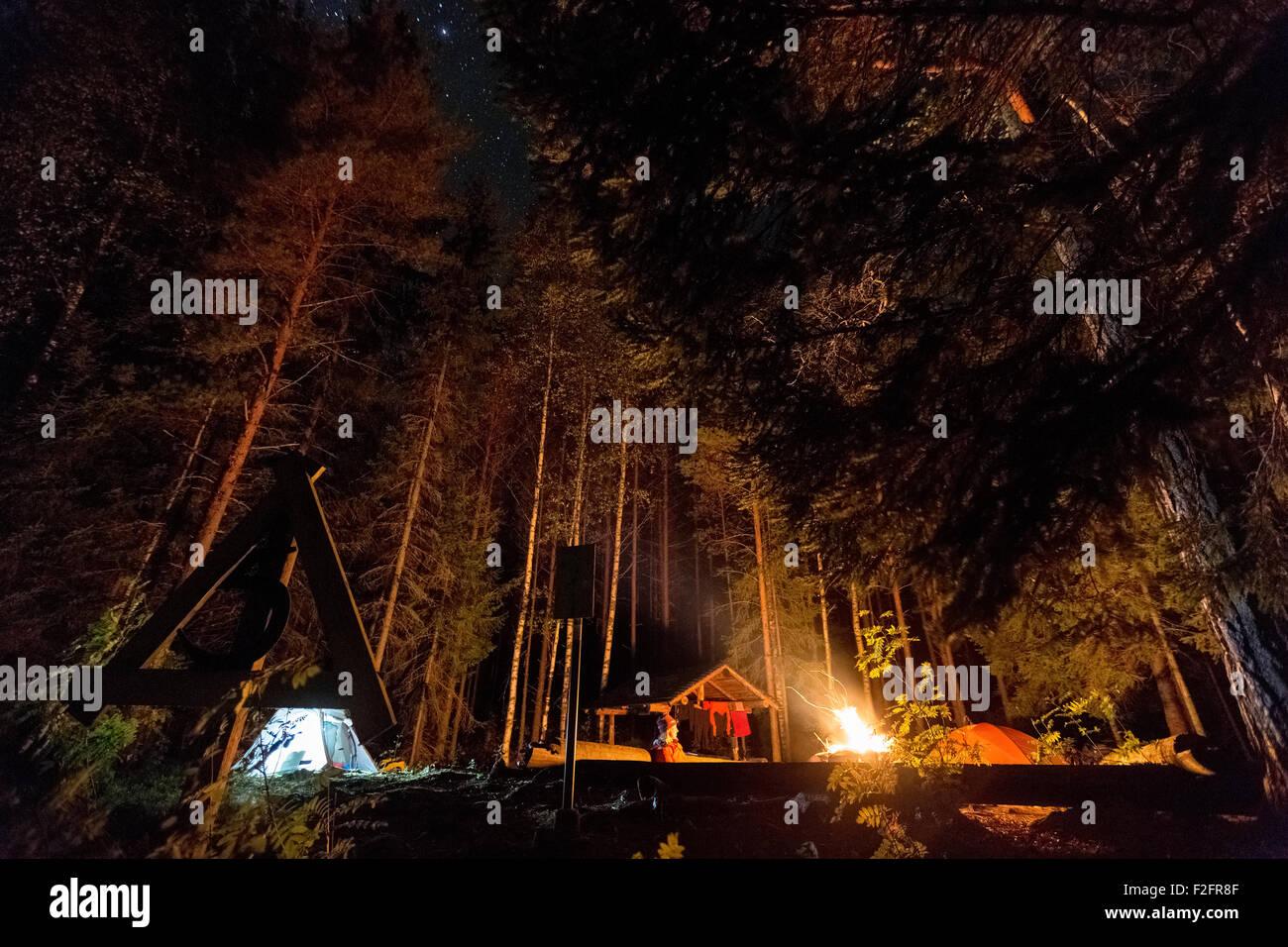 Camping à Lylyniemi, Jämsä, Finlande, Europe, UNION EUROPÉENNE Photo Stock