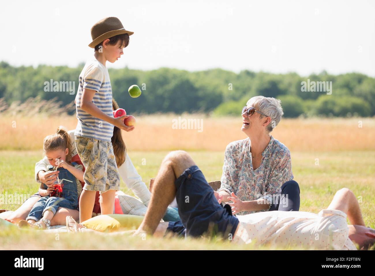Multi-generation family en champ ensoleillé Photo Stock