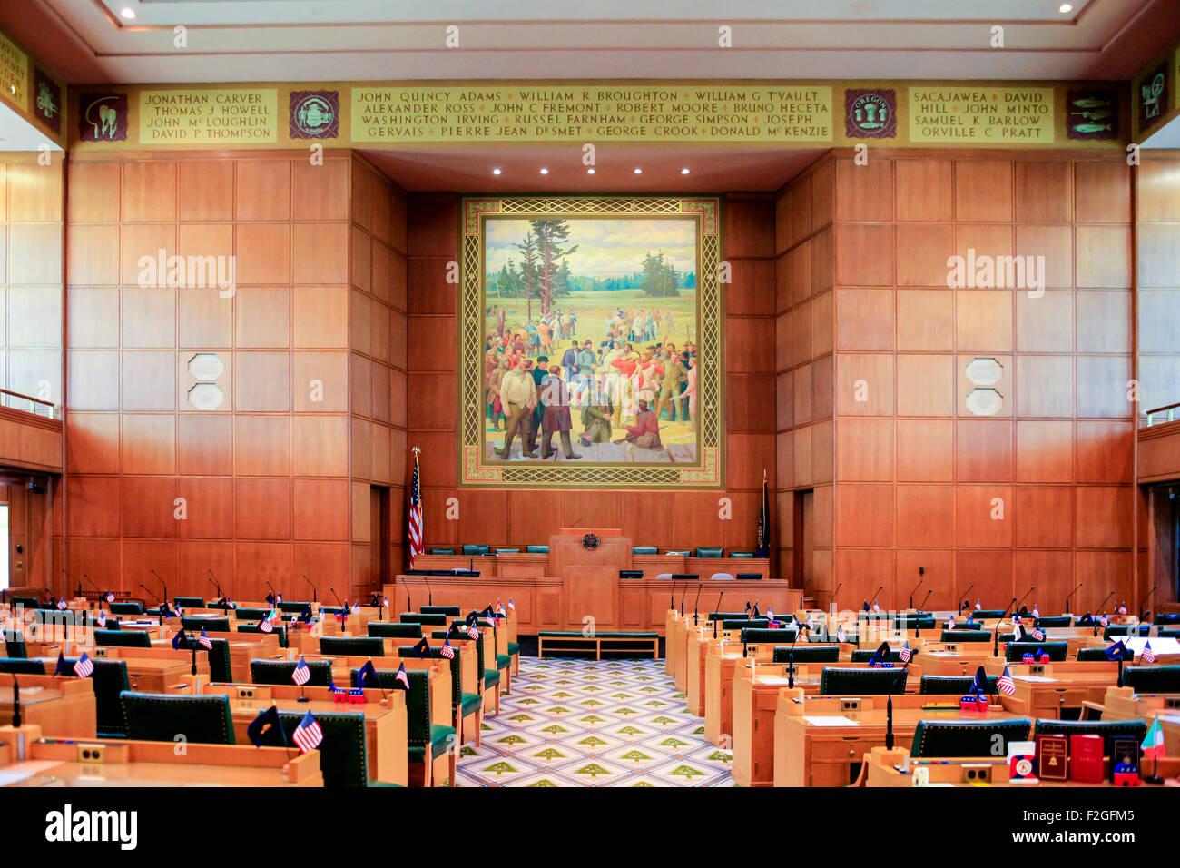 La Chambre des représentants à l'intérieur de l'Oregon State Capitol renforcement de Salem Banque D'Images