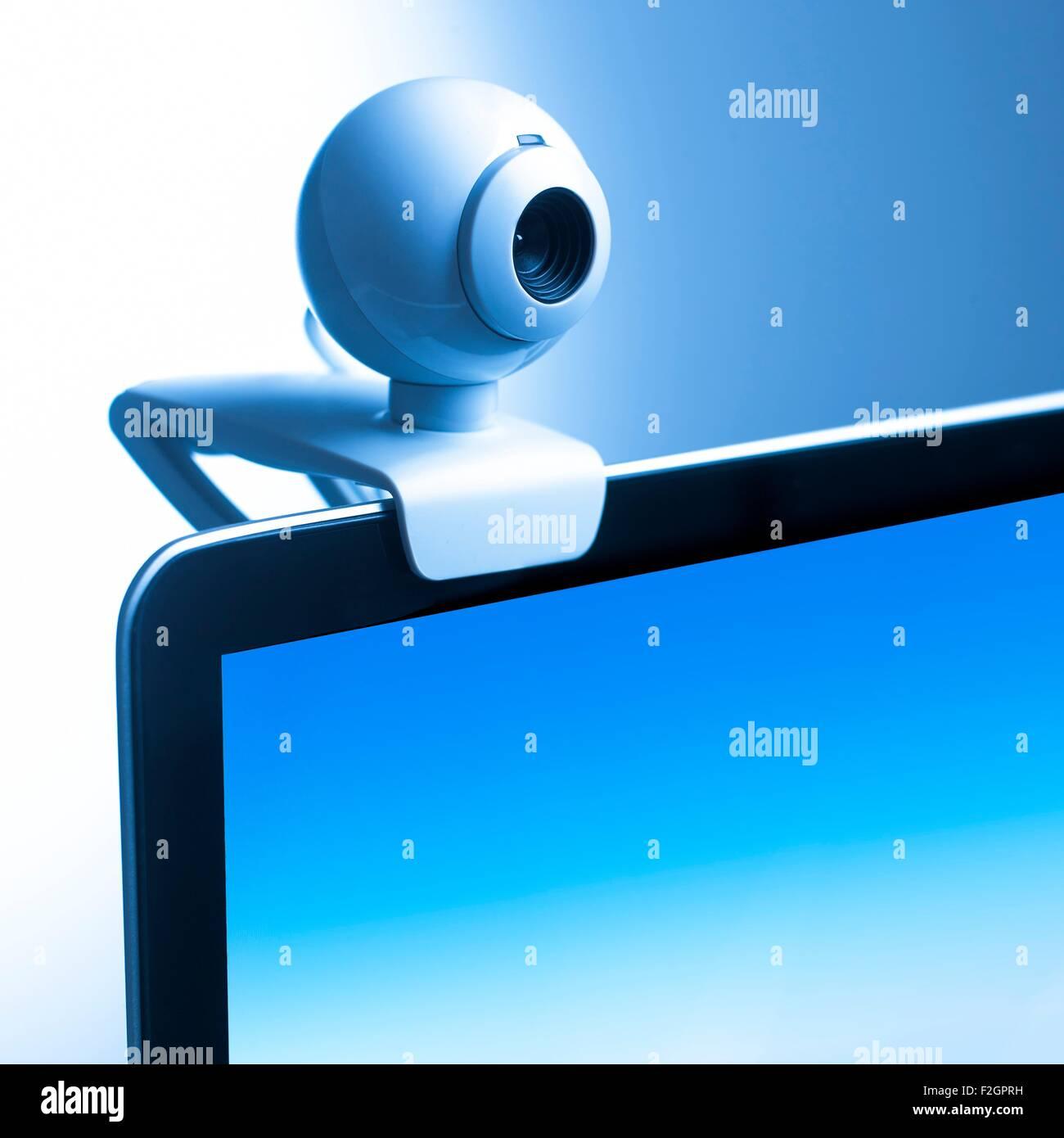 Webcam sur le moniteur de l'ordinateur Photo Stock