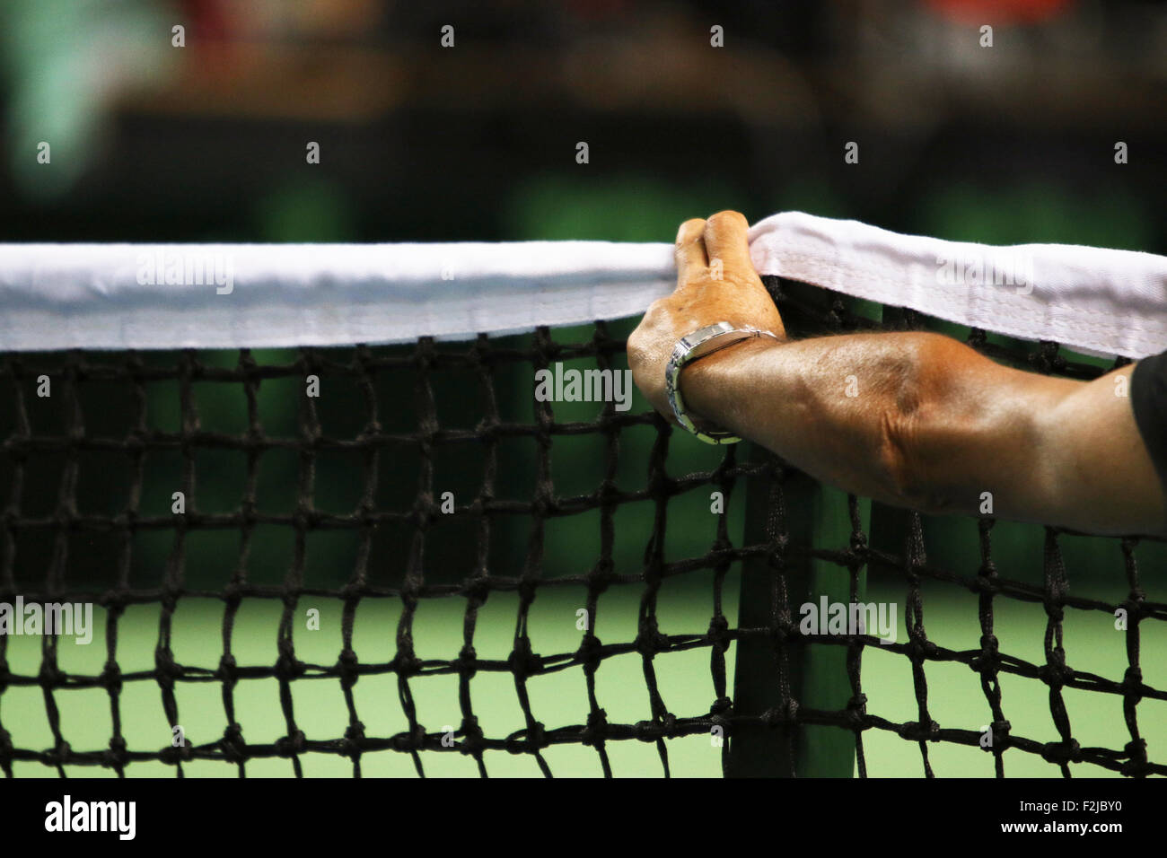 Concept Tennis net officiel inspecte le Photo Stock