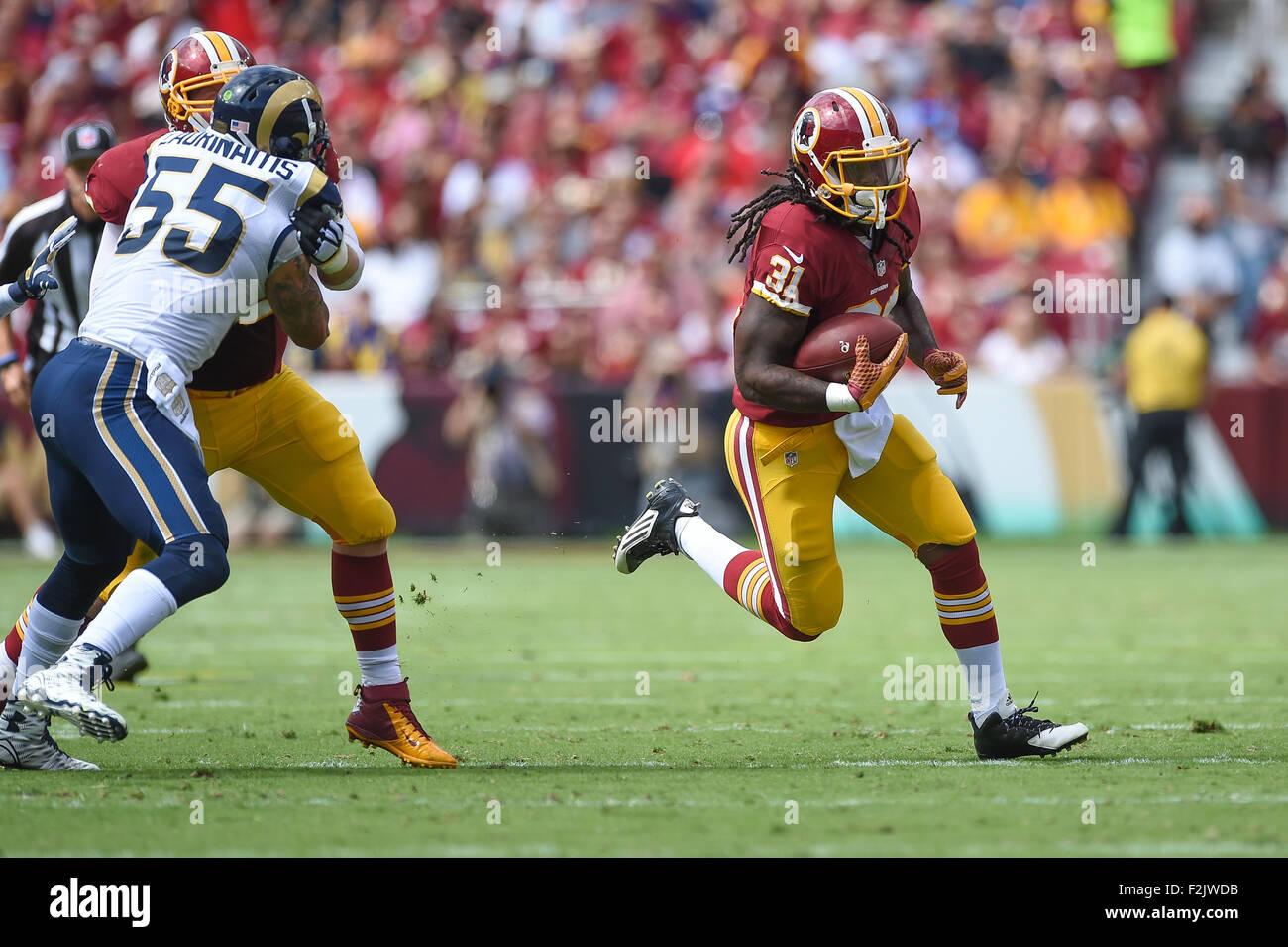 Landover, MD., USA. 20 Septembre, 2015. Redskins de Washington d'utiliser de nouveau Matt Jones (31) exécute Photo Stock