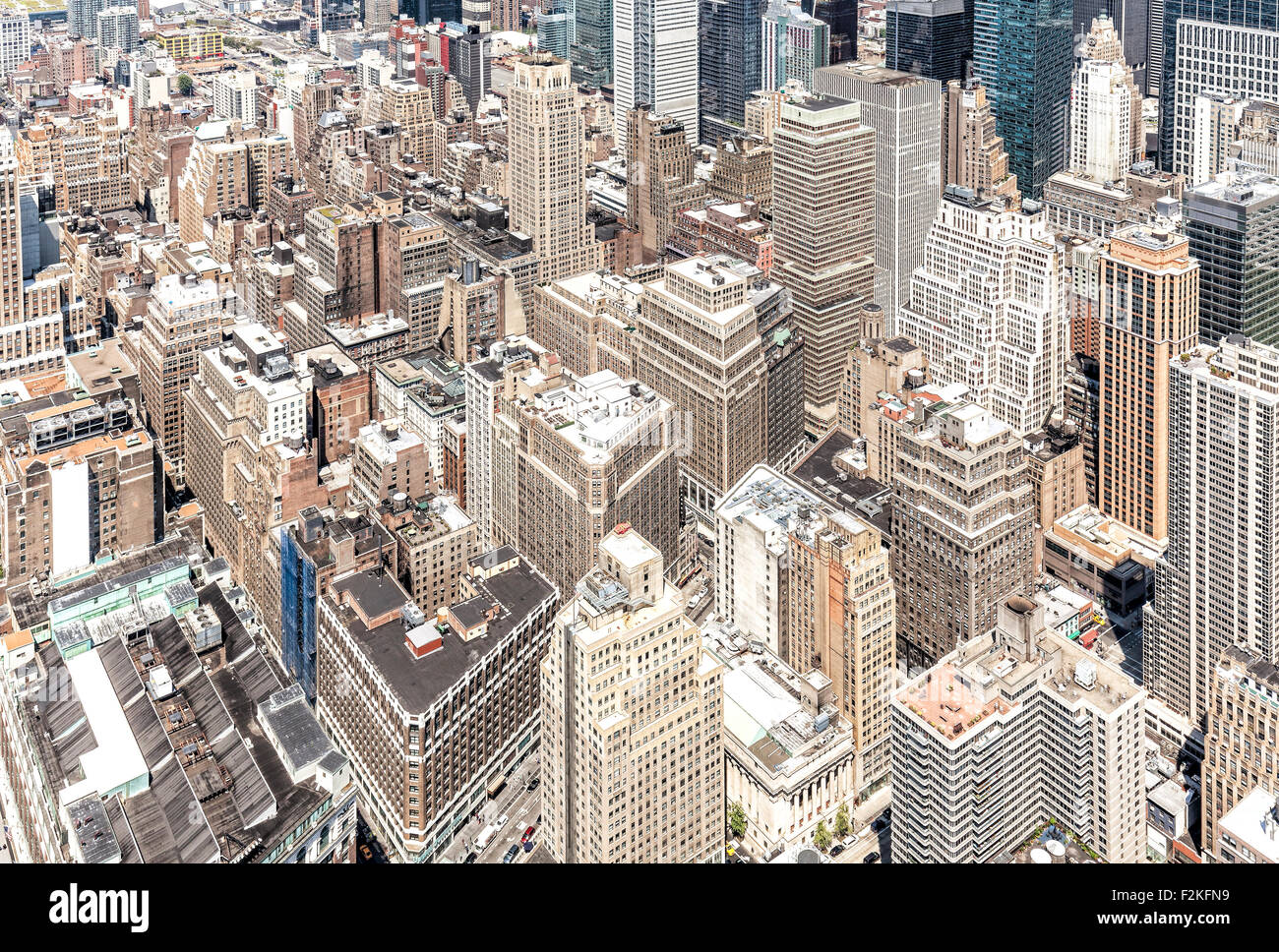Vue aérienne du centre-ville de Manhattan, New York, USA. Photo Stock