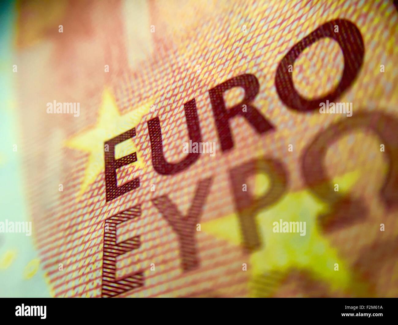 Close up d'un billet d'euro 10 Photo Stock