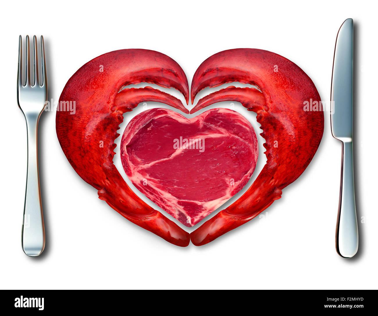 Surf and Turf symbole de fine cuisine et de l'amour de la viande et les fruits de mer comme un steak et du homard dans un endroit avec une fourchette et un couteau en forme de cœur sur un fond blanc. Banque D'Images