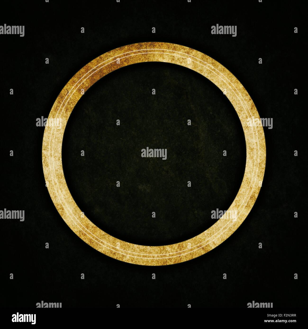 Ancien anneau d'or sur fond de texture abstrait Photo Stock