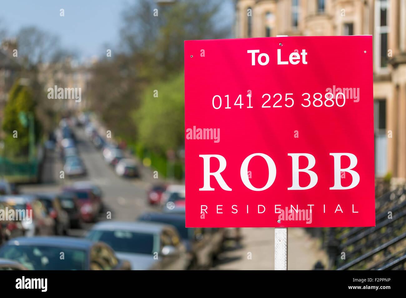 Panneau a Residential to Let, Glasgow West End, Écosse, Royaume-Uni Banque D'Images