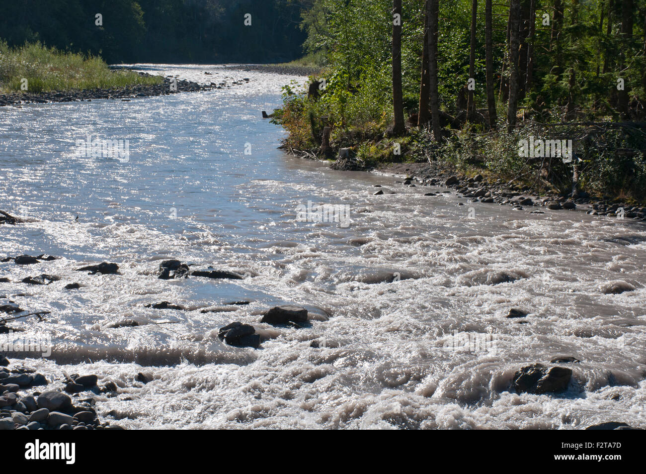 White River, Washington State, USA, de l'eau, de courbe Photo Stock
