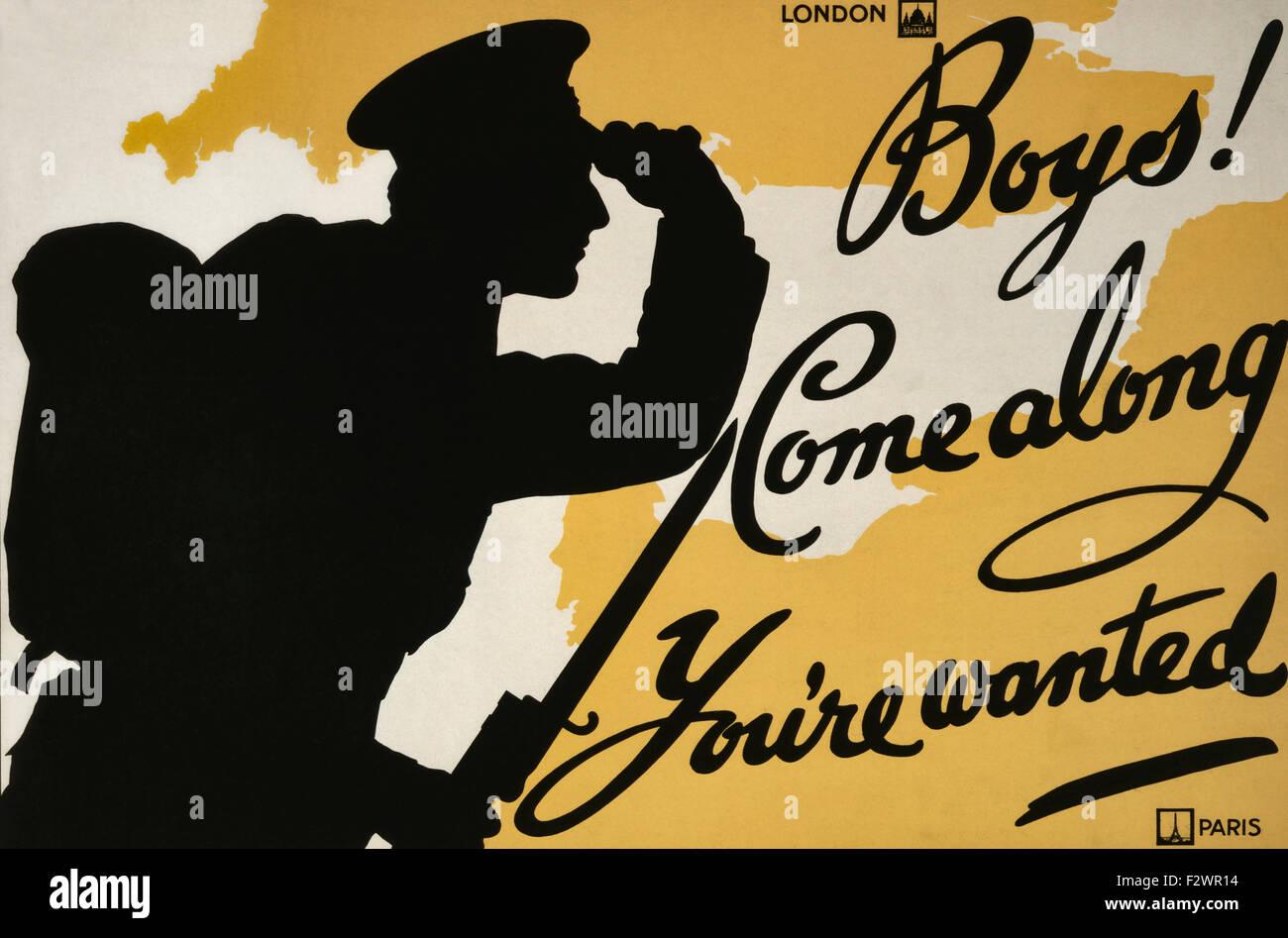 Affiche de recrutement de la Première Guerre mondiale. Les garçons! Venez vous êtes recherché. Photo Stock