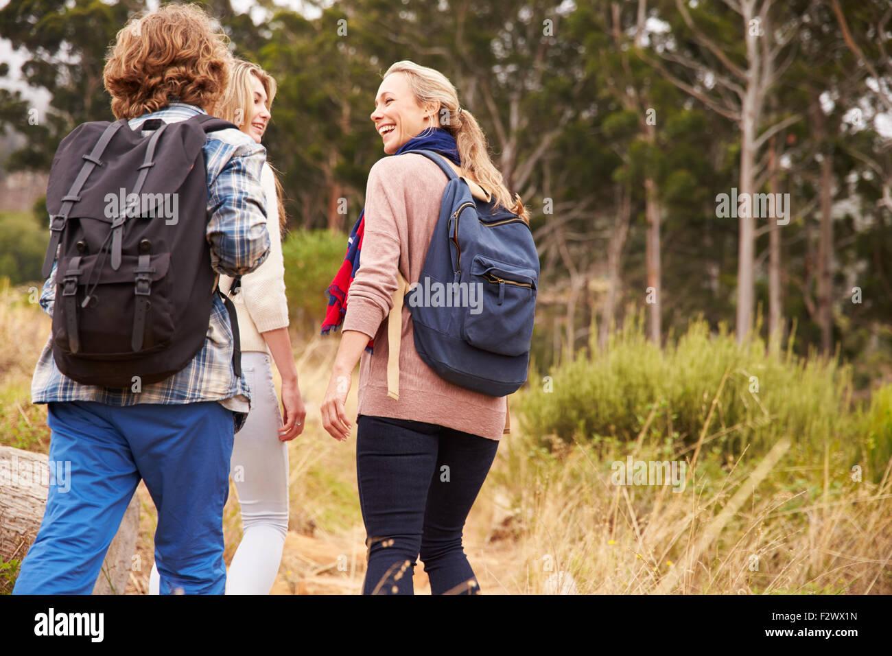 La mère et deux enfants marchant sur un sentier forestier, vue arrière Photo Stock