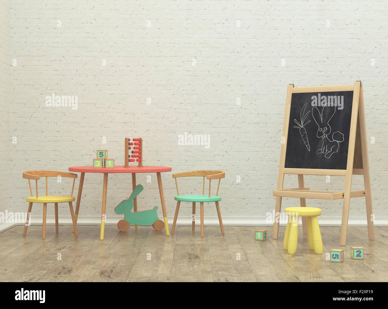 Salle de jeux pour les enfants l'intérieur de l'image de rendu 3D avec des jouets et du conseil Photo Stock