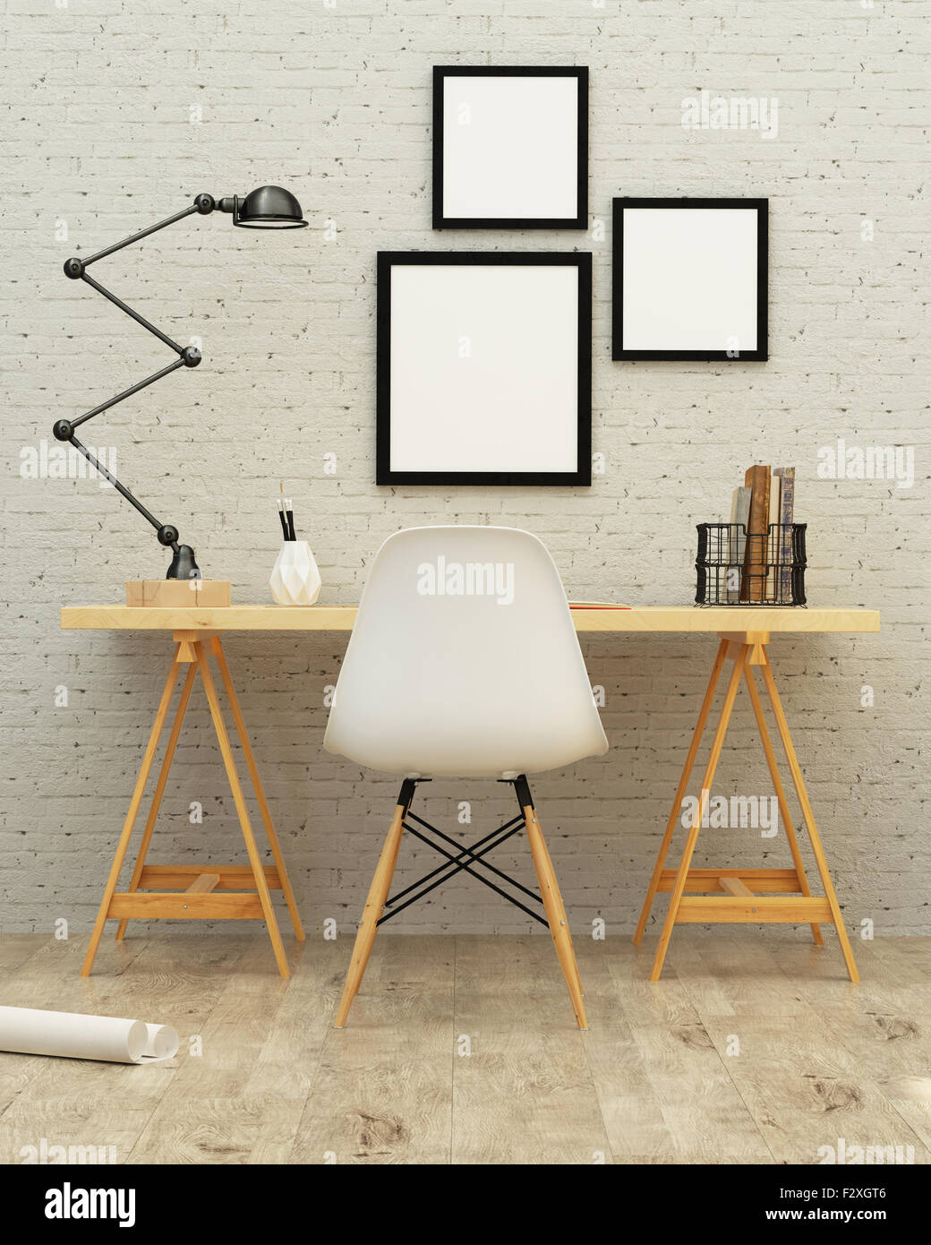 Chambre de travail rendu 3D Design d'intérieur Photo Stock