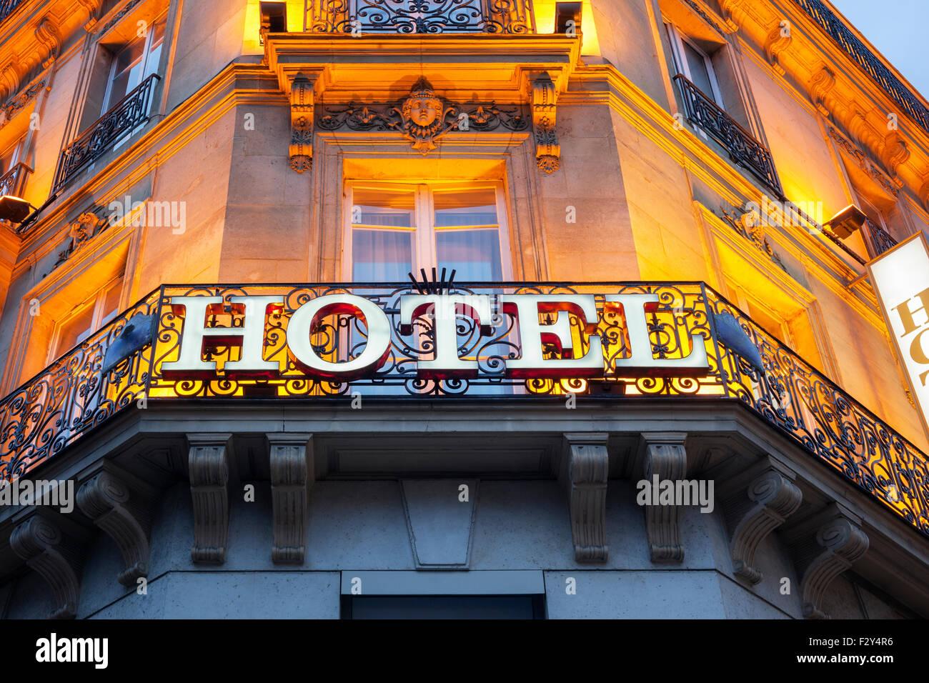 Signe de l'hôtel Photo Stock
