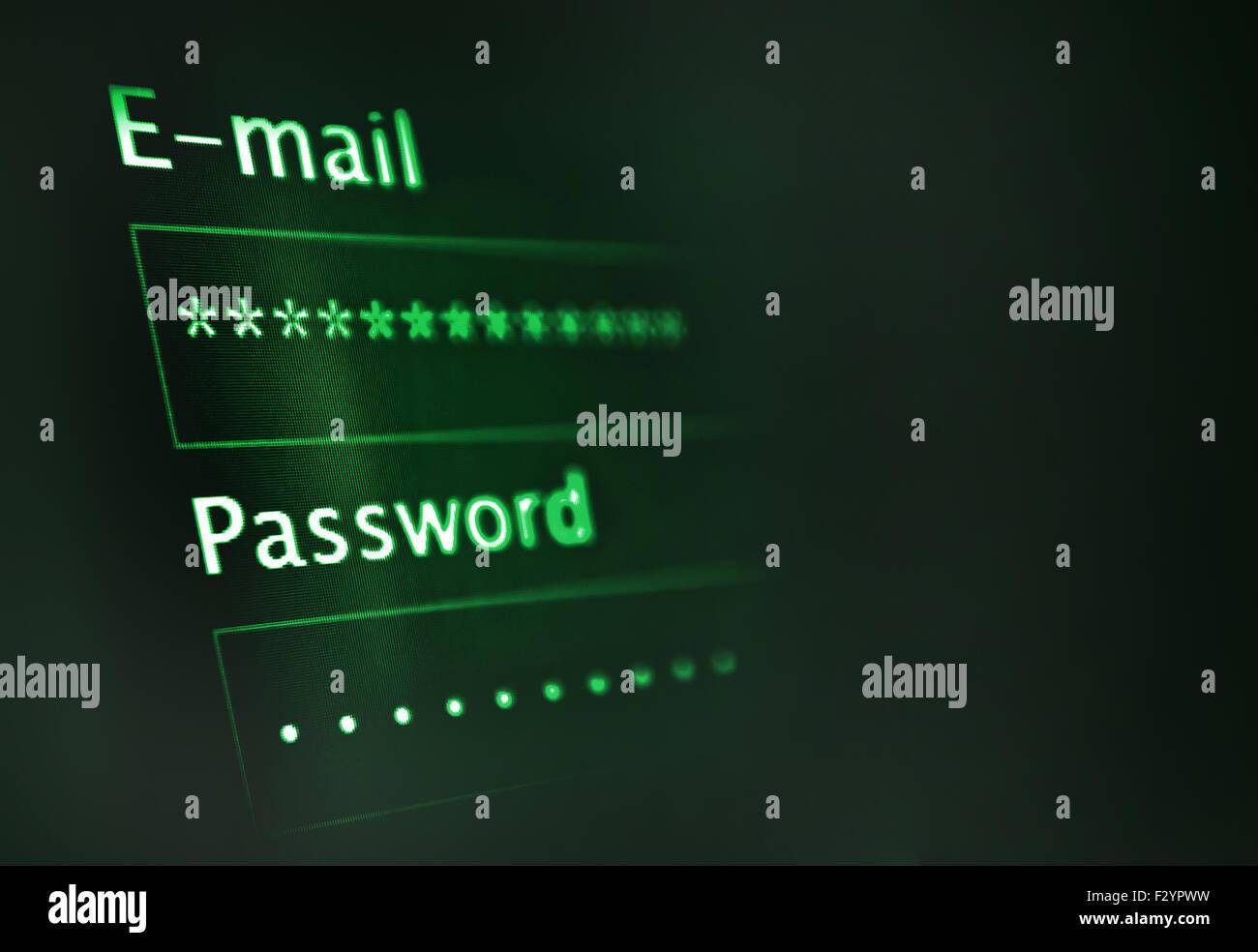 Login et mot de passe sur l'écran sombre Photo Stock