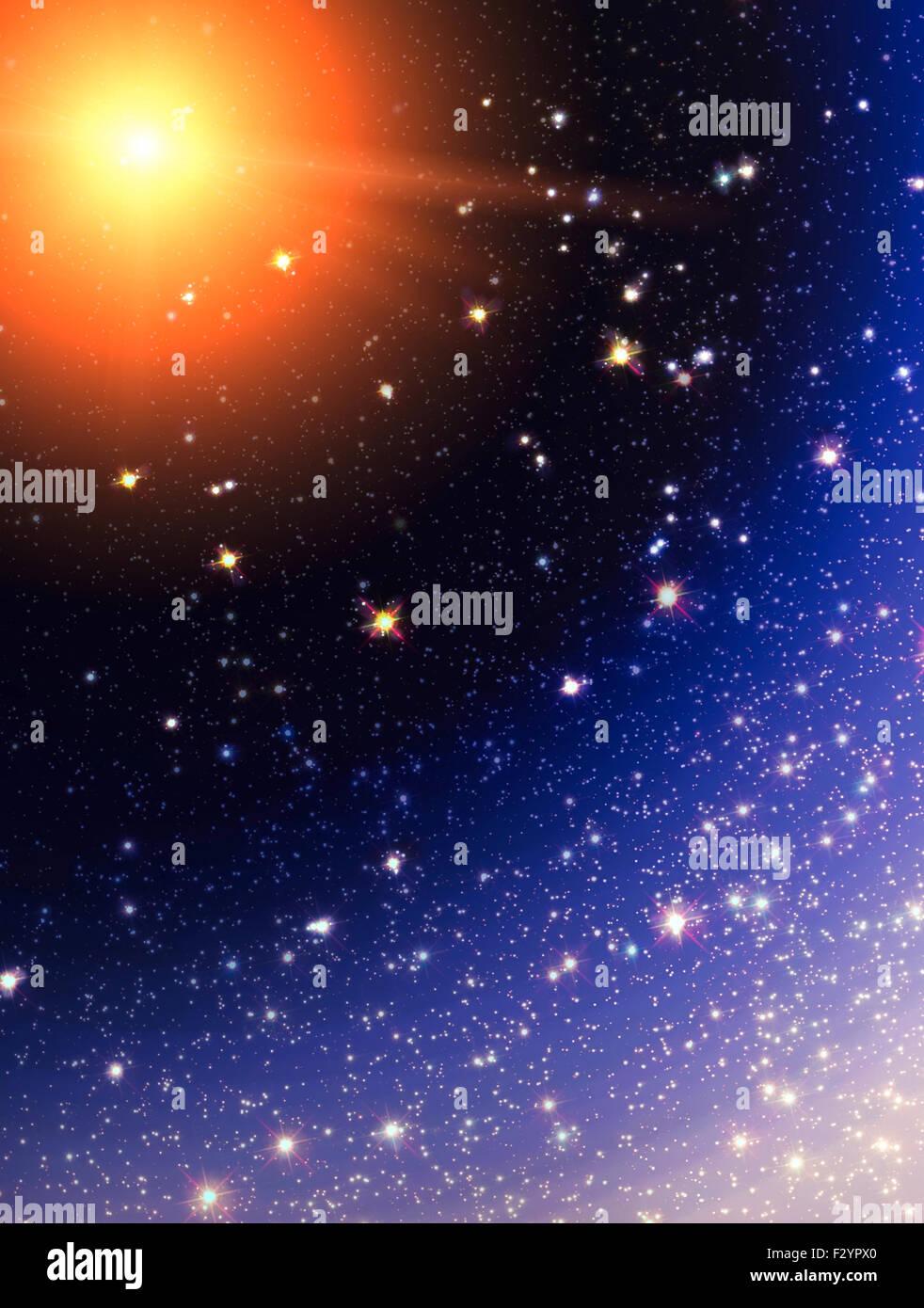 Stars de fond, la texture de l'espace avec de nombreuses stars Photo Stock