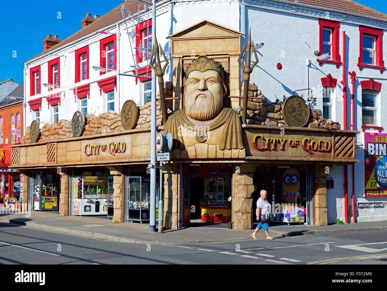 Jeux électroniques - la cité de l'or - en Mabelthorpe, Lincolnshire, Angleterre, Royaume-Uni Photo Stock