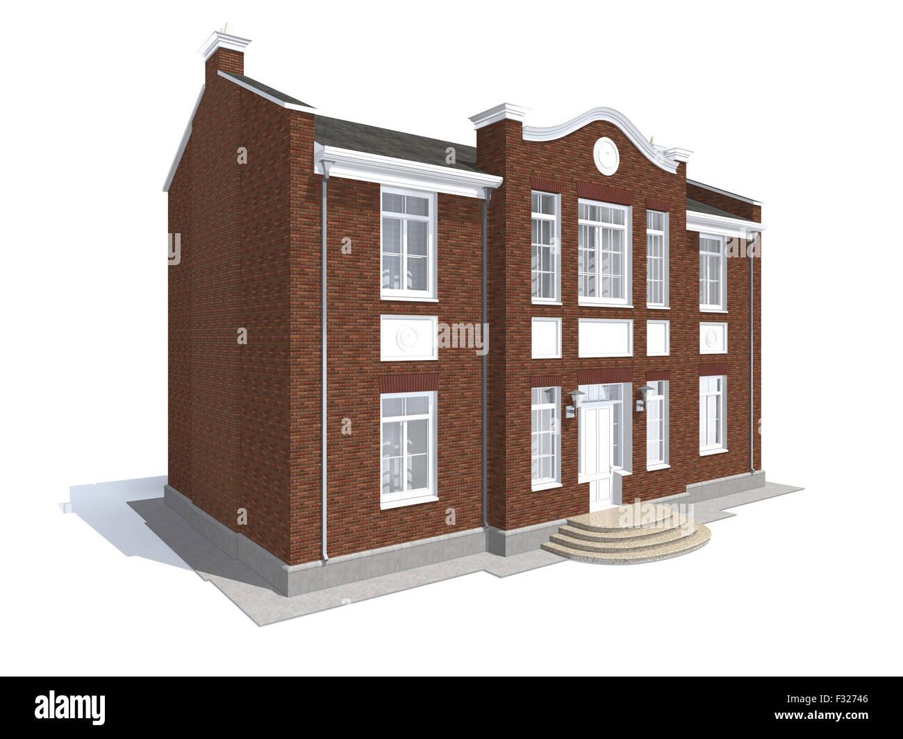 La visualisation de l'architecture résidentielle privée classique isolated on white Photo Stock