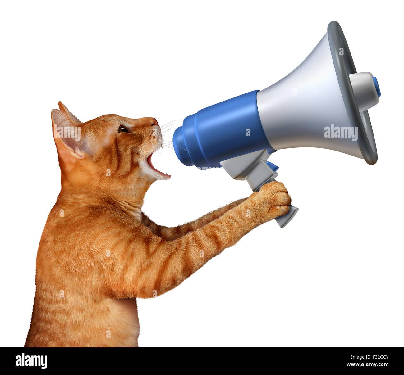Annonce chat concept comme un félin générique tenant un porte-voix ou porte-voix pour annoncer des Photo Stock