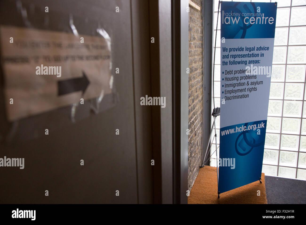 Hackney Community Law Centre de la signalisation à l'entrée Photo Stock