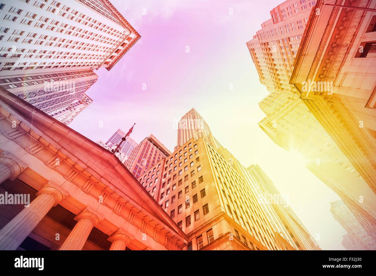 Instagram Vintage Wall Street filtrée au coucher du soleil, Manhattan, New York City, USA. Photo Stock