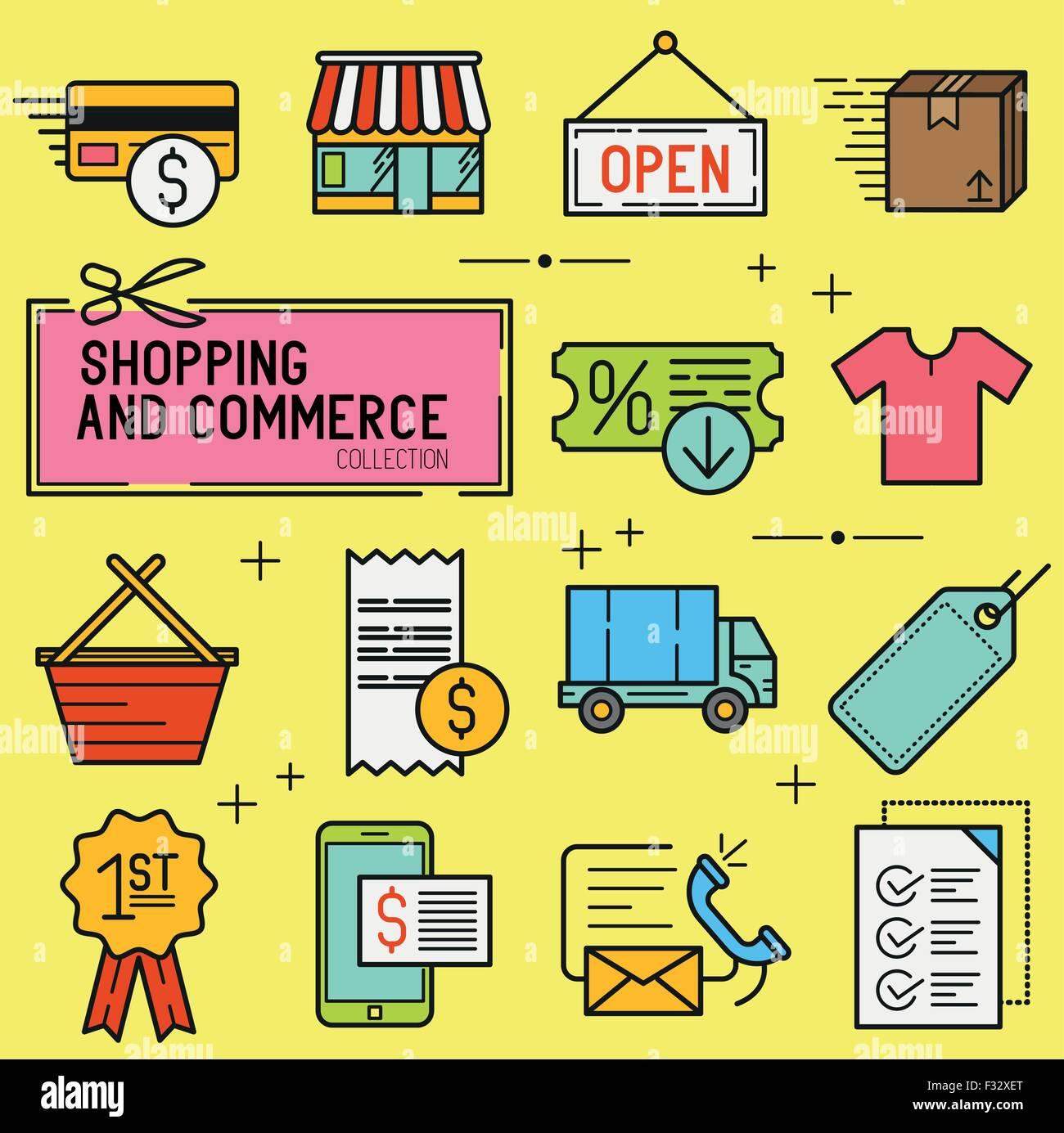 Shopping et de détail Icon Set. Une collection d'icônes dont une boutique de commerce électronique, Photo Stock