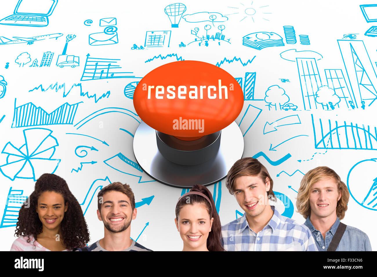 Bouton poussoir orange contre recherche Banque D'Images