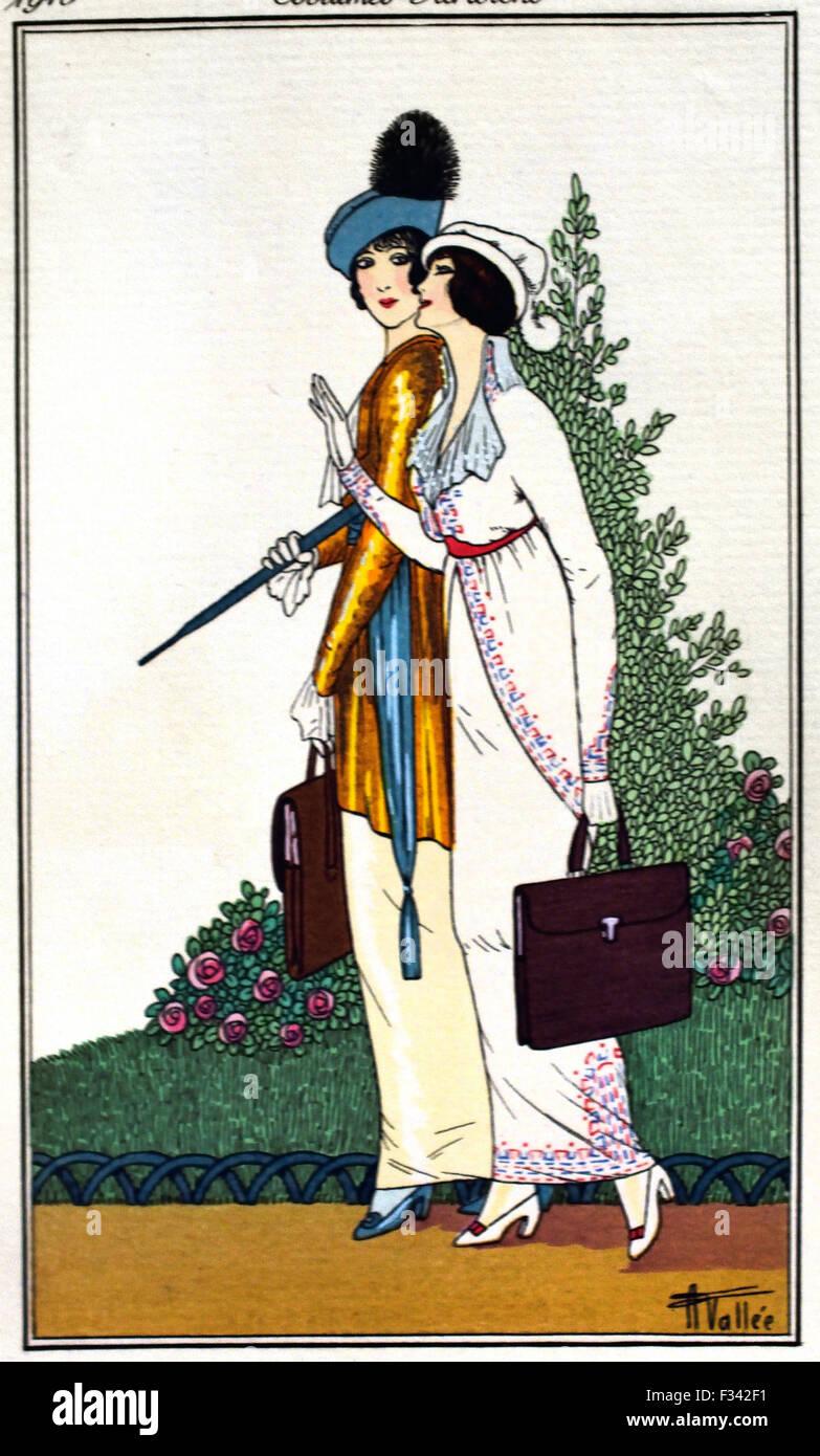 Journal des Dames et des modes - Fashion News 1912-1914 Publié par Tom Antongini gravures coloriés à Photo Stock