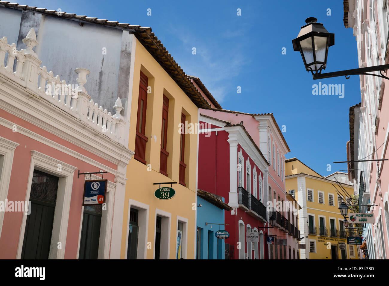 L'architecture coloniale de la vieille ville, Salvador, Brésil Photo Stock
