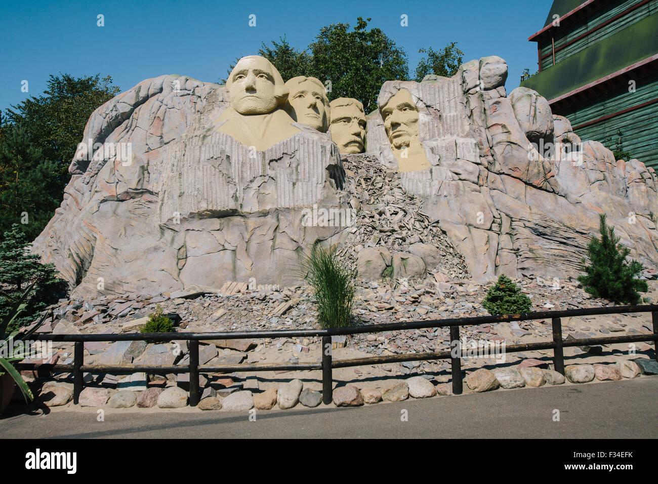 Mount Rushmore National Memorial, Legoland Billund, en modèle. Danemark Photo Stock