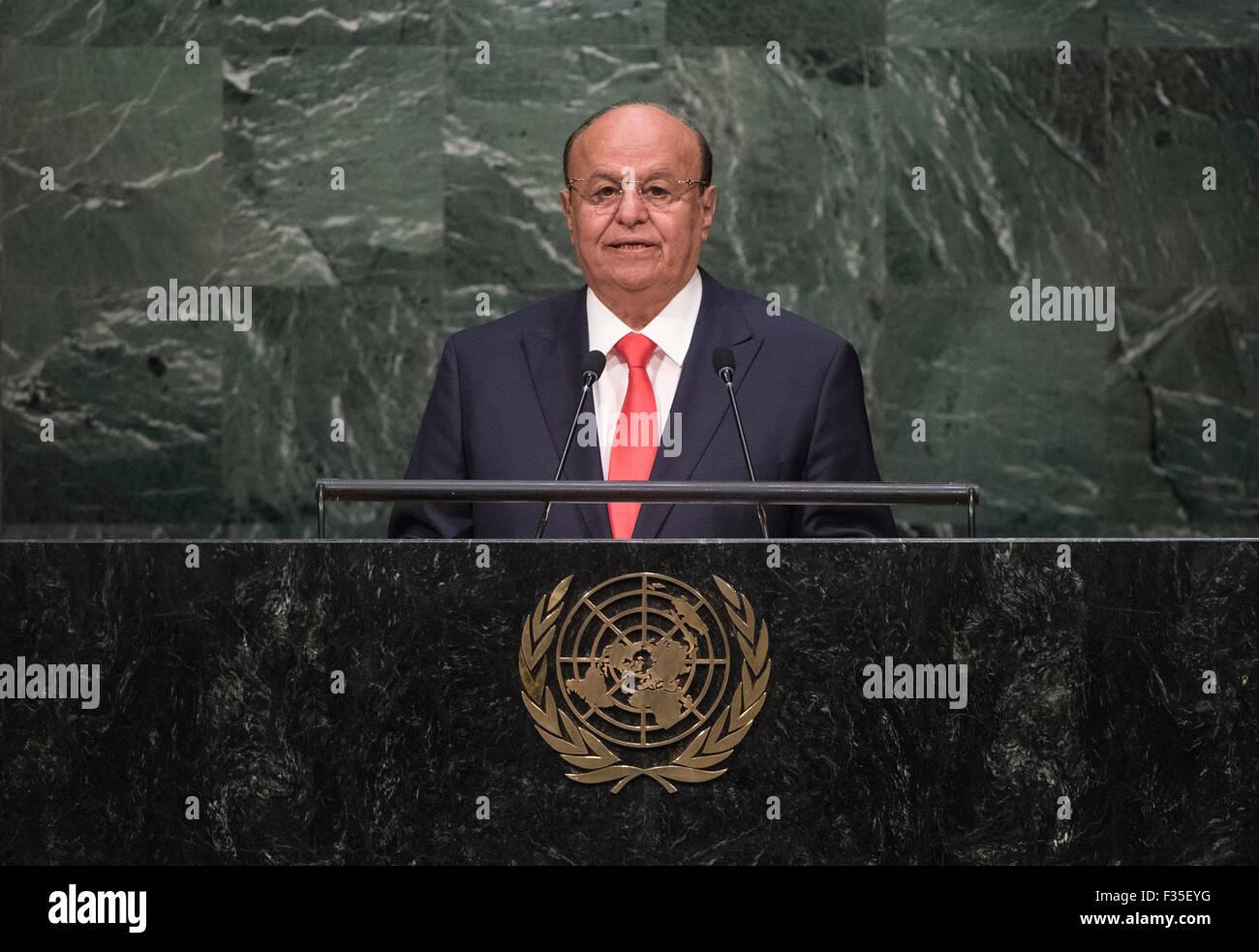 New York, NY, USA 29 Sep, 2015. Le président yéménite Abd-Rabbu Mansour Hadi traite de la 70e session de l'Assemblée générale des Nations Unies au siège des Nations Unies à New York, le 29 septembre, 2015. Photo ONU/Cia Pak/Xinhua/Alamy Live News Banque D'Images