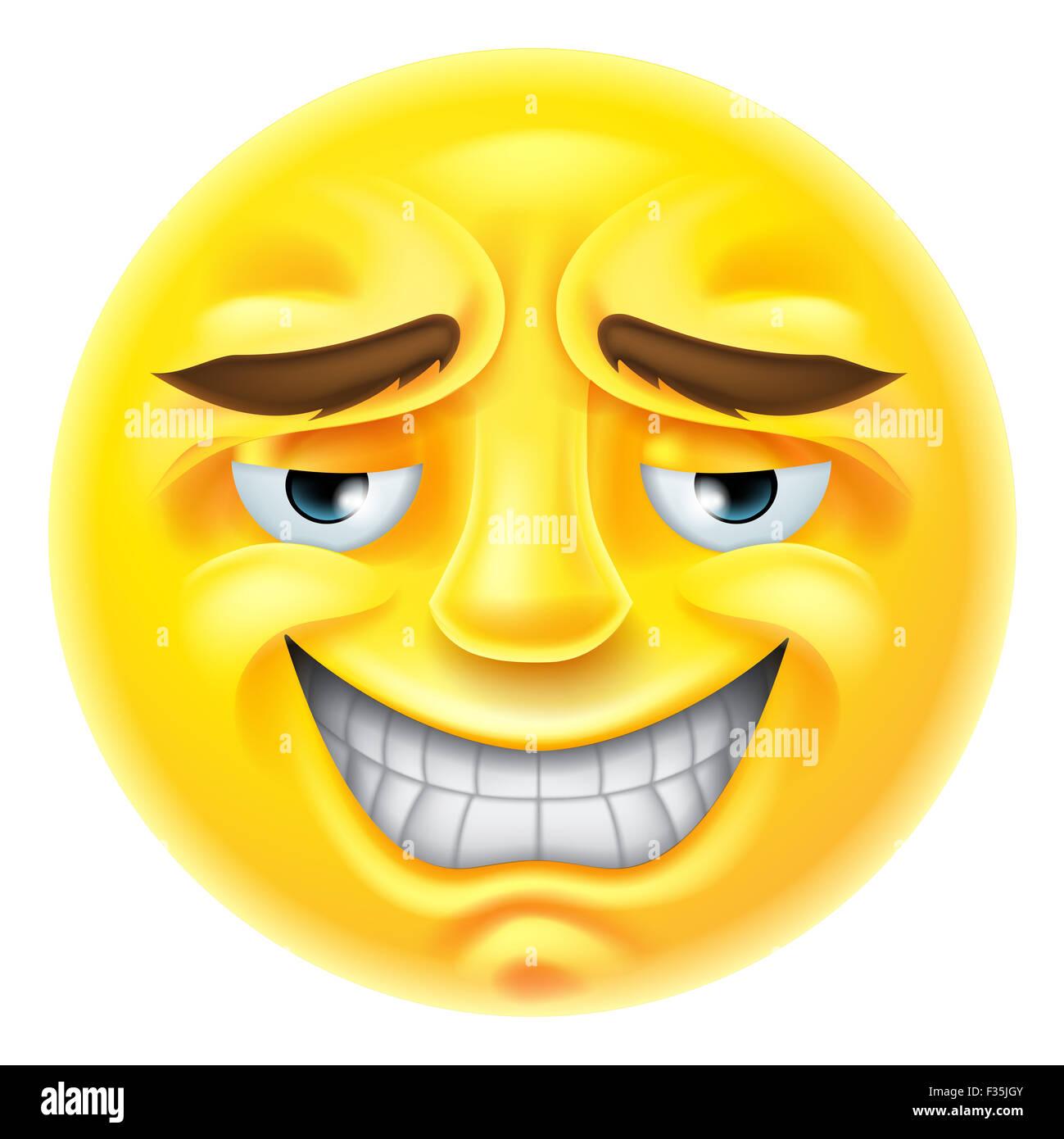 Un Caractere D Emoticones Emoji Dans Un Sourire Gene Ou Facon Onctueuse Photo Stock Alamy