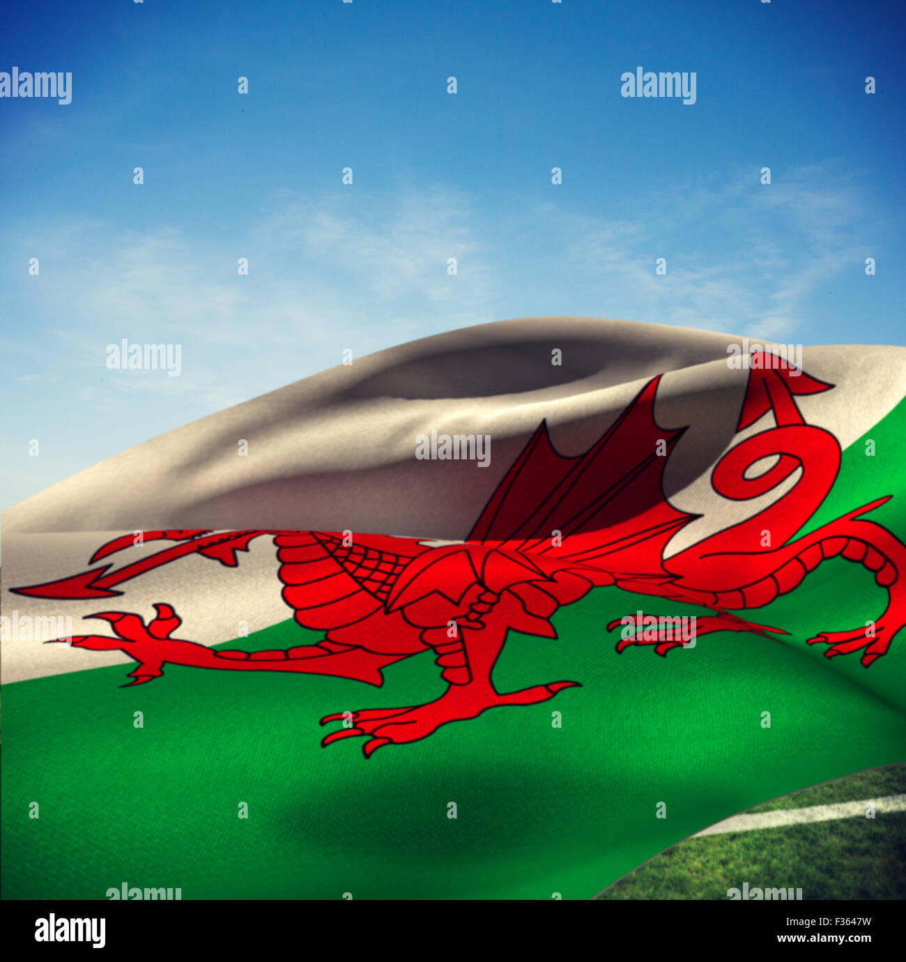 Image composite de waving flag of Wales Photo Stock