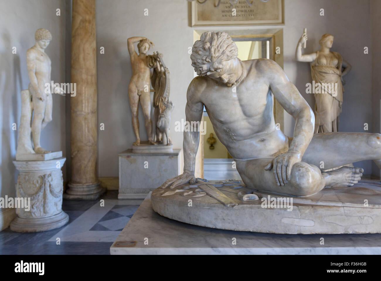 Rome. L'Italie. Le Musée du Capitole. Les mourants Gaul (gladiateur), Copie romaine d'un original grec Photo Stock