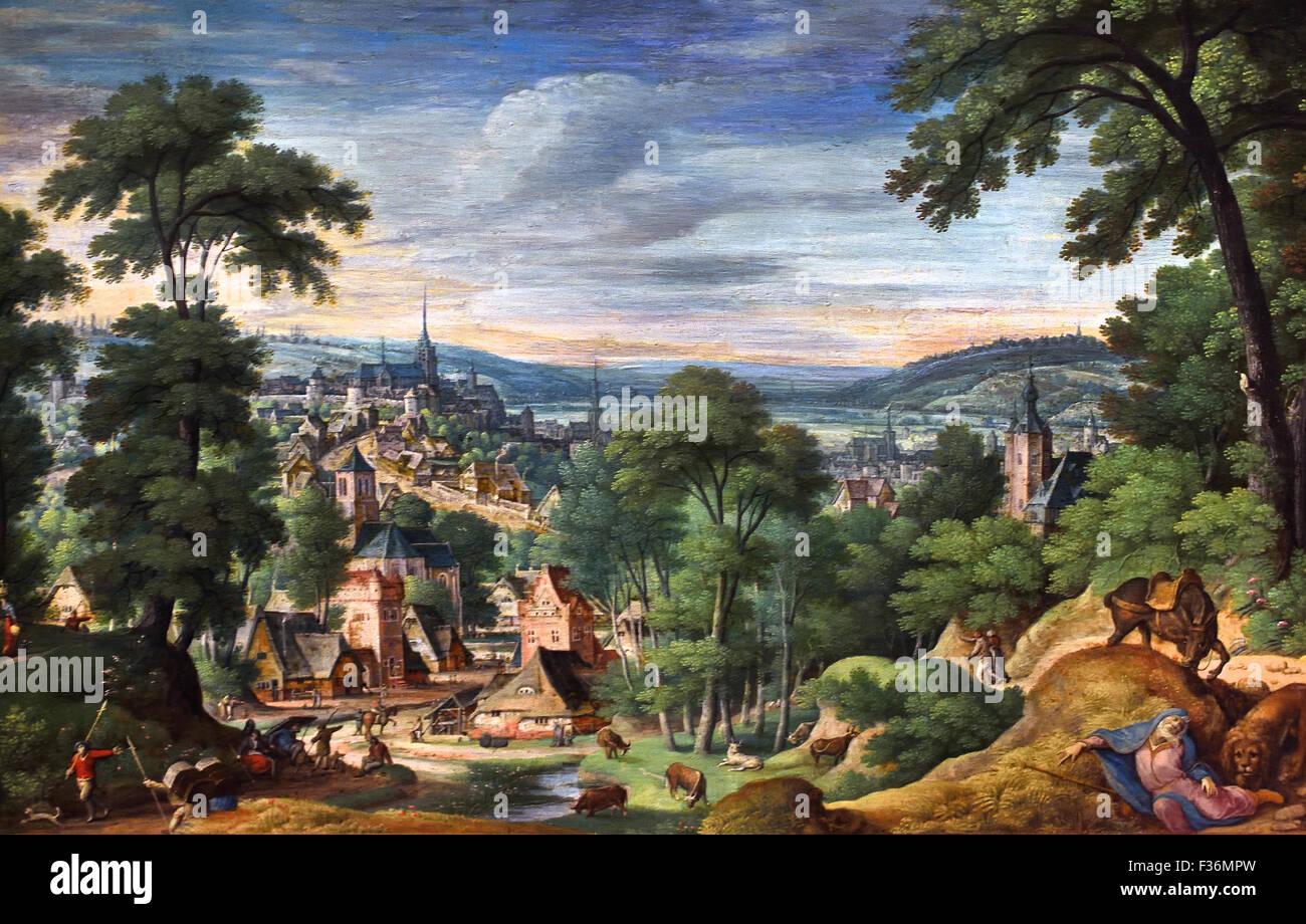 Paysage panoramique avec le Saint Homme de Juda 1588 Hans Bol 1534 - 1593 Pays-Bas Néerlandais Photo Stock