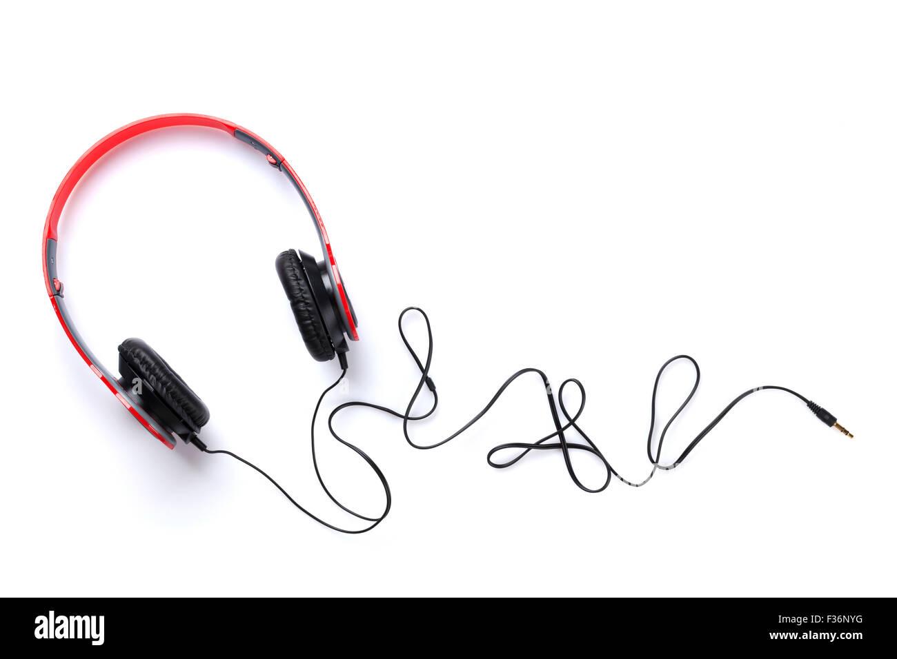 Des écouteurs. Isolé sur fond blanc Photo Stock