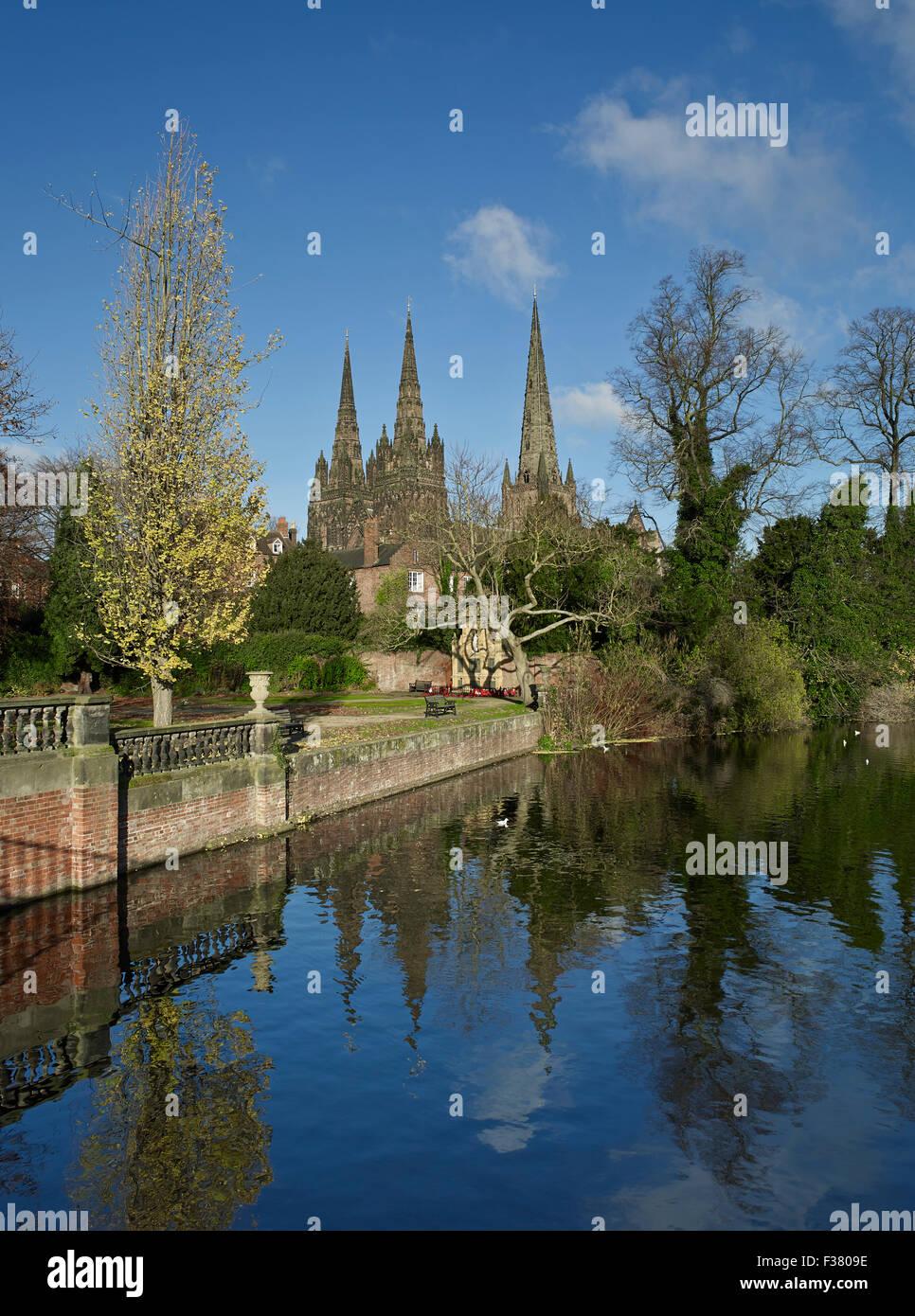 La Cathédrale de Lichfield trois spires Photo Stock