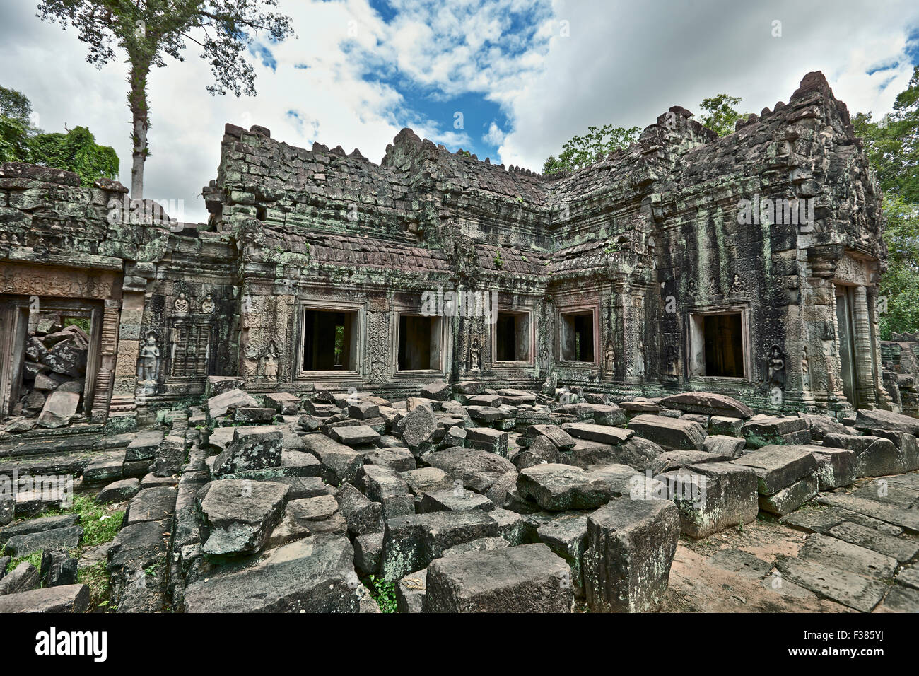 Preah Khan temple. Parc archéologique d'Angkor, la Province de Siem Reap, au Cambodge. Photo Stock