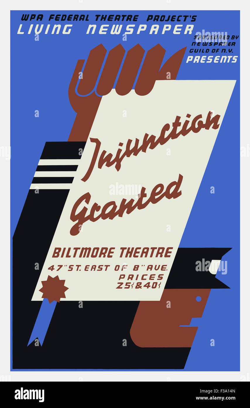 Vintage poster WPA d'injonction accordée, un journal vivant 1936 pièce de théâtre présentée par le gouvernement Banque D'Images
