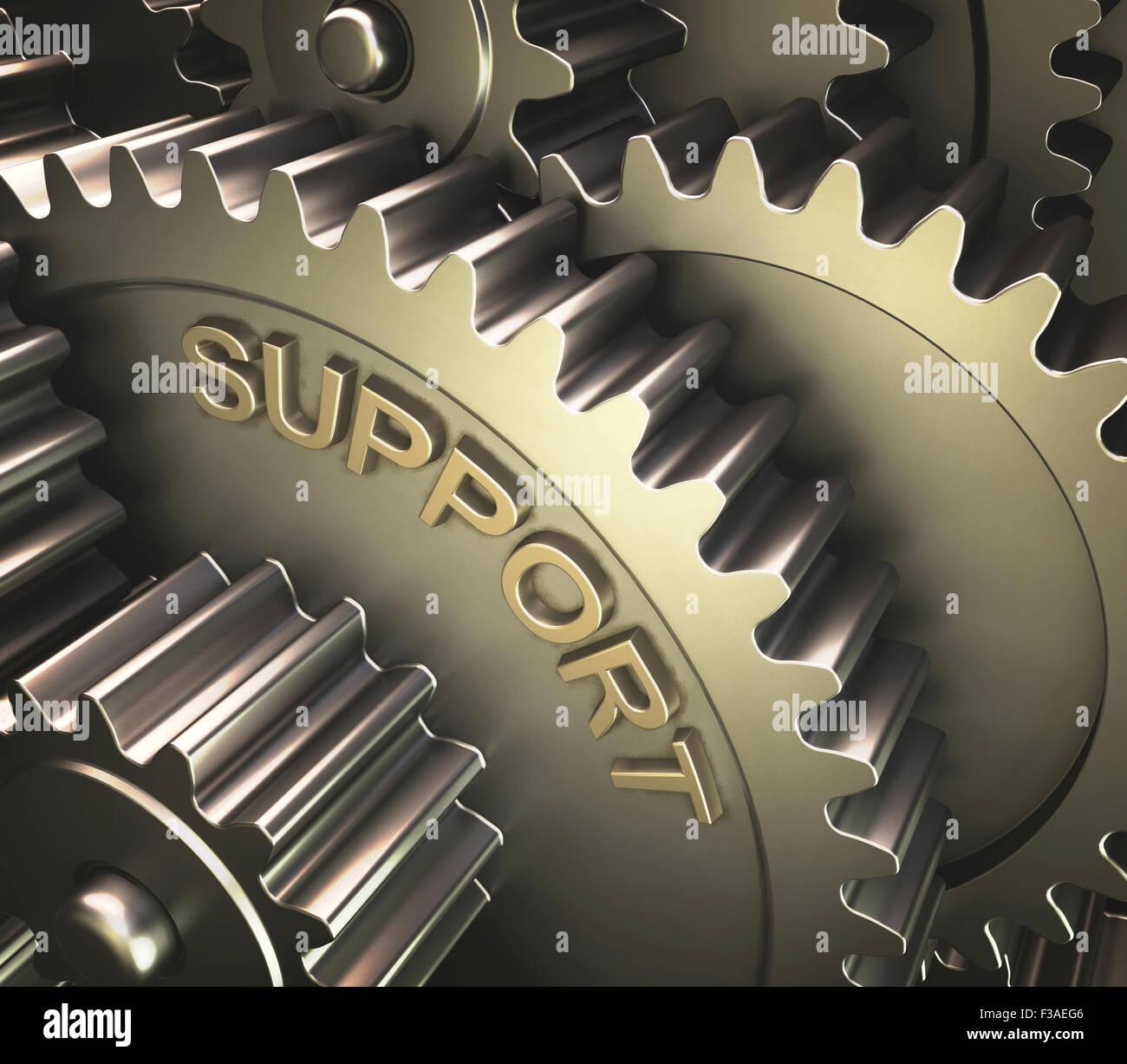 """Les pignons avec le mot """"soutien"""", illustration de l'ordinateur. Photo Stock"""
