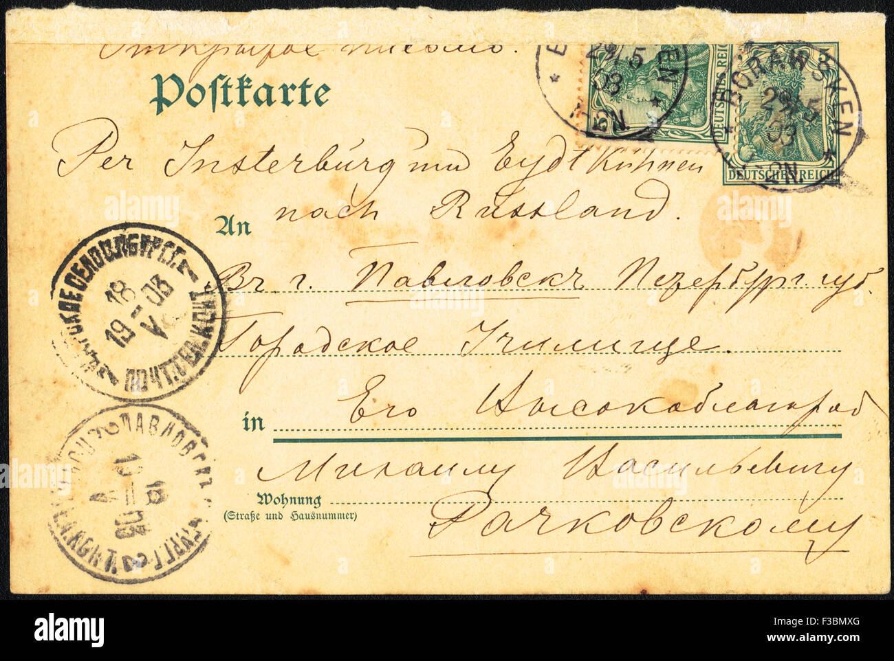 Carte postale rétro. Lettre ouverte, St.Petersburg, Russie, 1903 Photo Stock