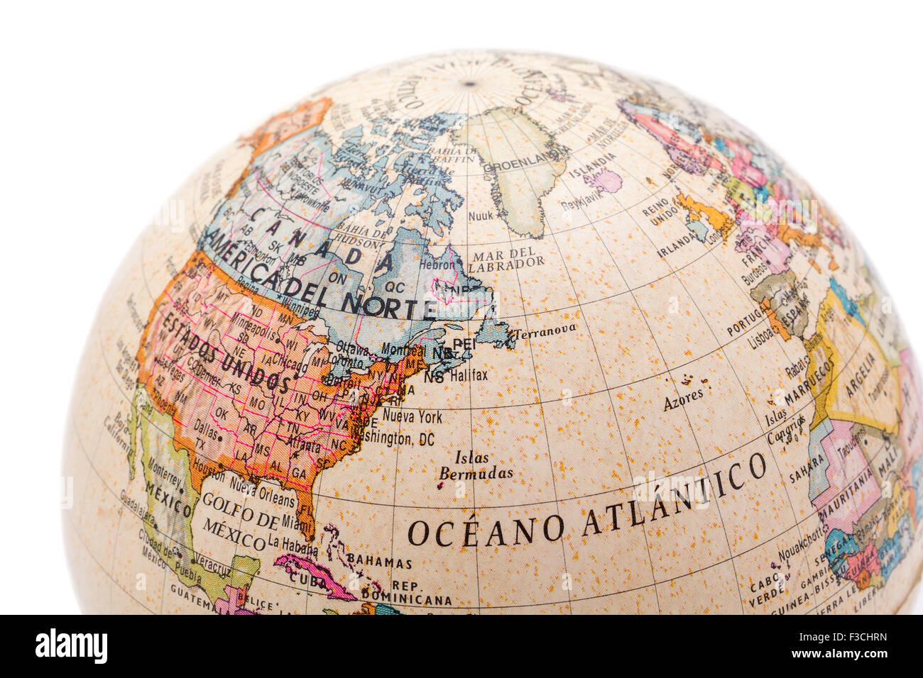 Carte Etats Unis Canada.Partie D Un Globe Avec La Carte Du Canada Des Etats Unis Et