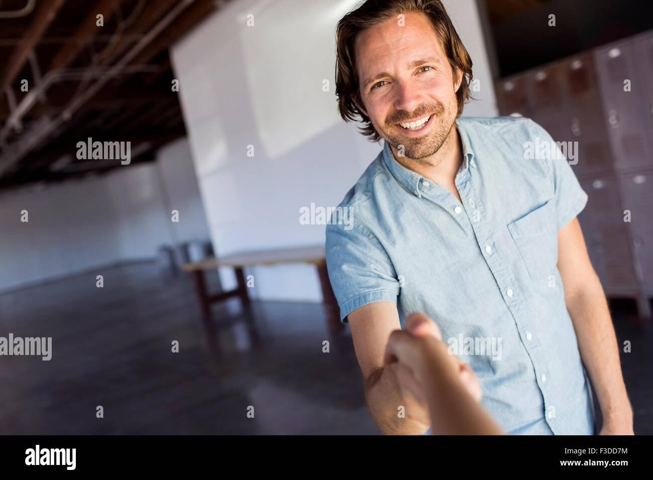 Man in warehouse Photo Stock