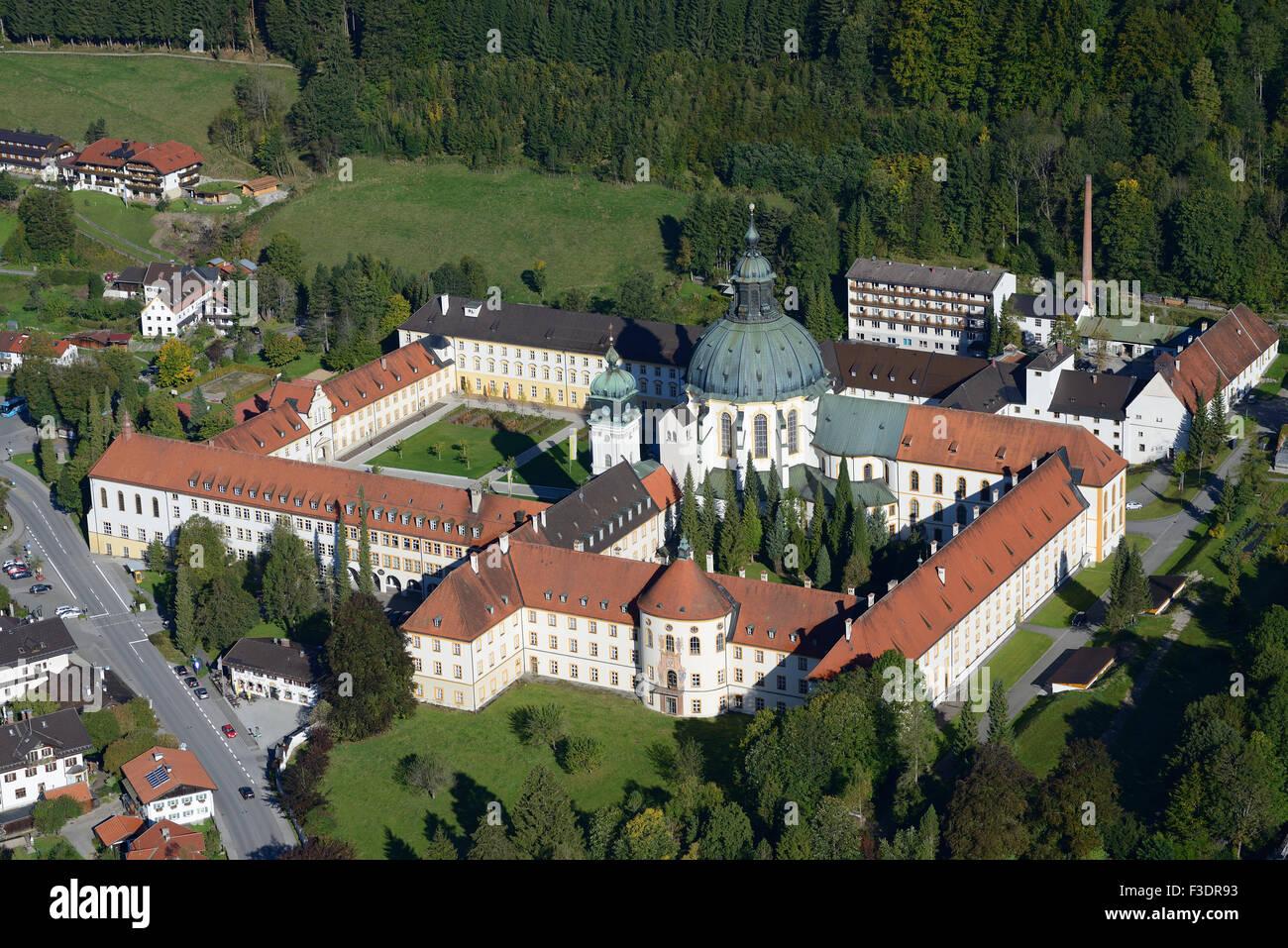 Abbaye ETTAL (vue aérienne). Monastère bénédictin dans le village d'Ettal, Bavière, Photo Stock