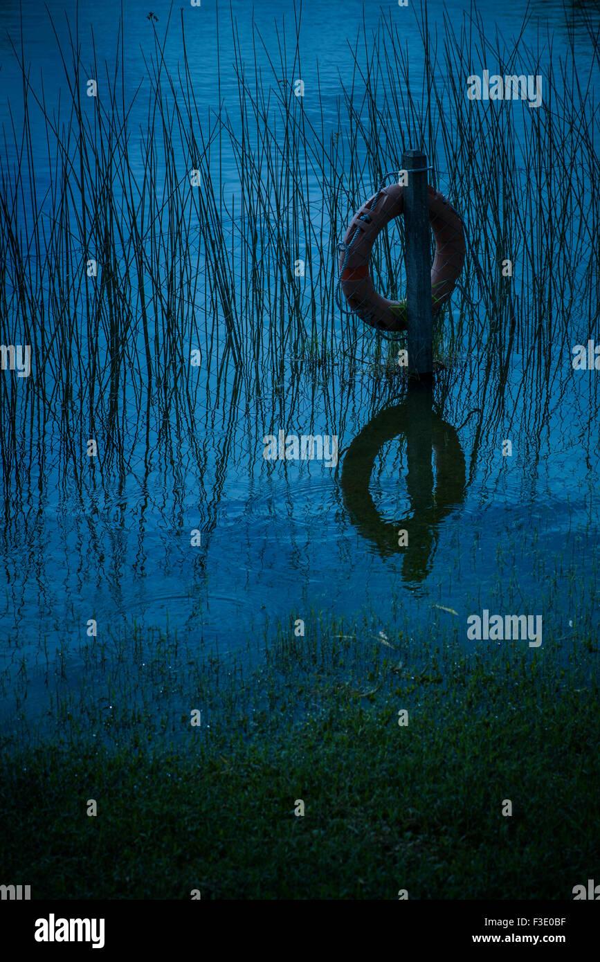 Life preserver hanging on wooden post au bord de l'eau Banque D'Images