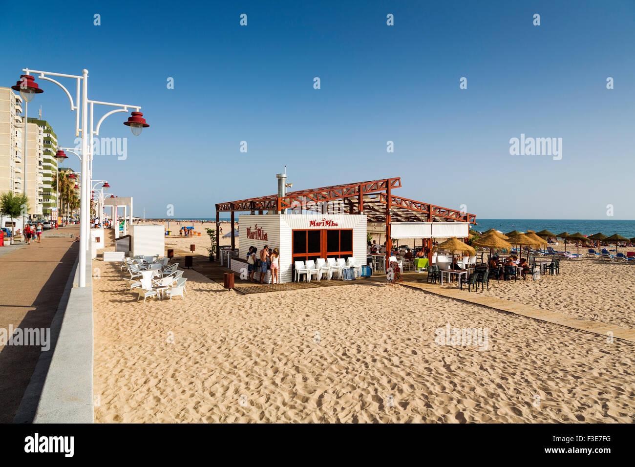 La promenade de la plage Victoria Cadiz Andalousie Espagne Banque D'Images