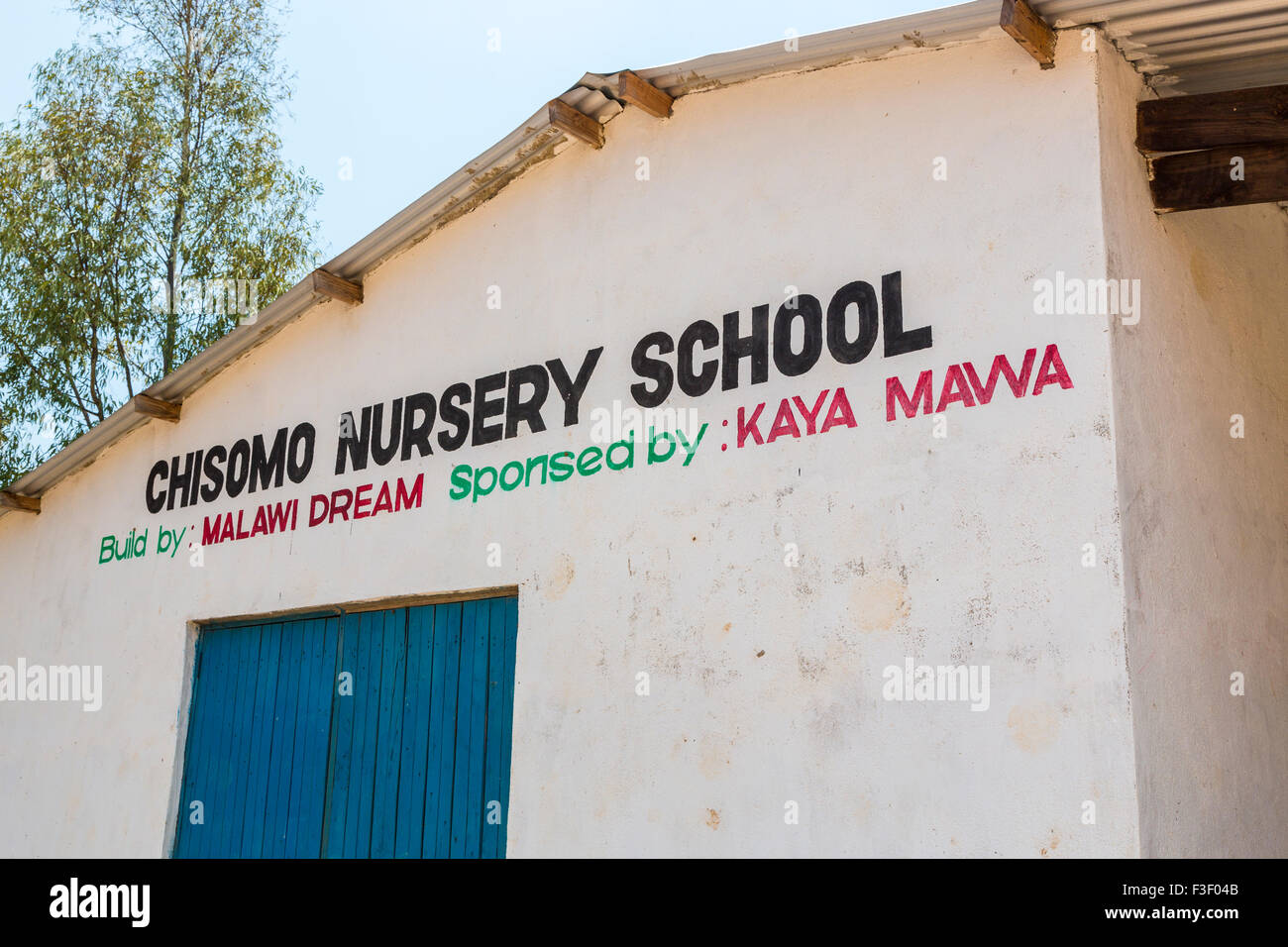 L'extérieur de l'école maternelle, Chisomo Nkhwazi, Likoma Island Village, le lac Malawi, Malawi, Afrique du sud-est Banque D'Images