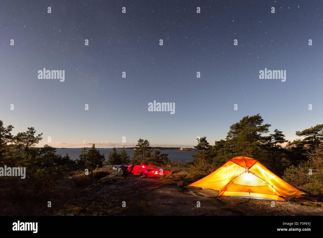 Camping Porkkala, Kirkkonummi, Finlande, Europe, UNION EUROPÉENNE Photo Stock
