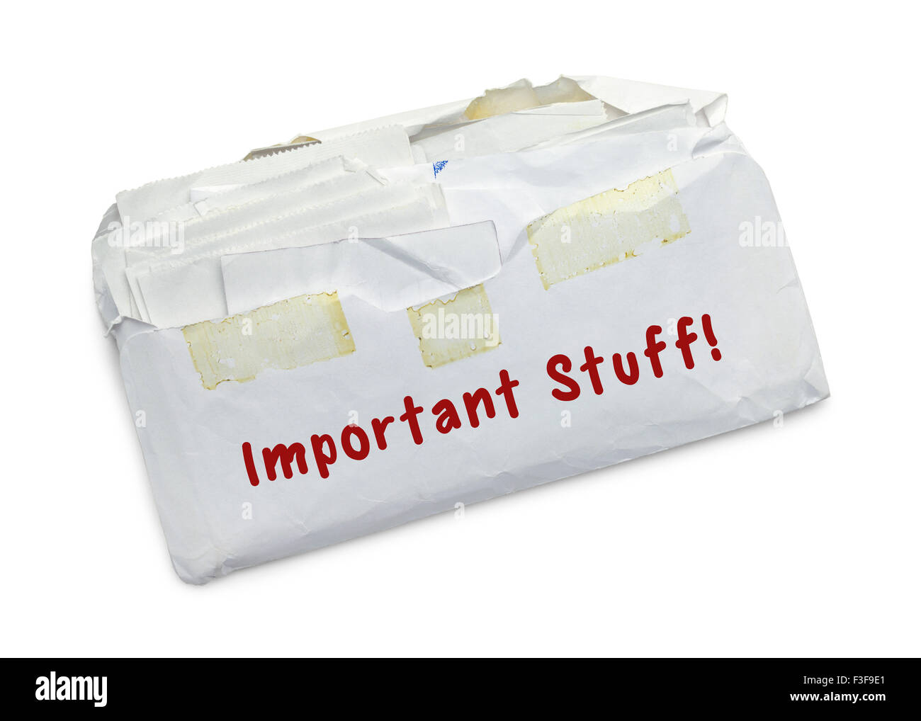 Plein de recettes enveloppe isolé sur fond blanc. Photo Stock
