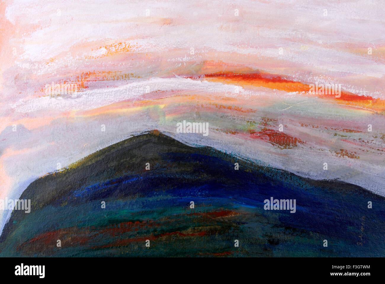 Impression du lever du soleil dans les montagnes de couleurs acryliques sur papier fait main Photo Stock
